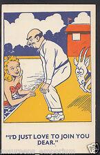 Comic Postcard - Swimming Pool / Goat / Couple  A900