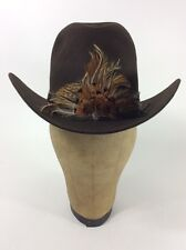 CUSTOM MADE WESTERN WORLD 100% IMPORTED FUR COWBOY HAT FEATHERS 7 BROWN