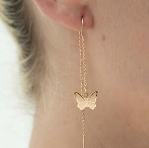 Womens Long Tassel Chain Earrings Gold CHIC Butterfly Drop Dangle Jewellery Gift