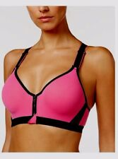 New 38C Hot Pink Black Front Zip WF Extra Cov Sportsbra By Maidenform Dm7991 #s
