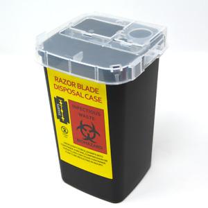 Barber Salon Used Disposable Sharp Razor Blade Container Trash Can (BLACK)