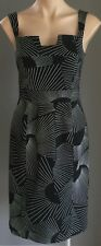 Pre-owned DIANA FERRARI Black & White Print Sleeveless Sheath Dress Size 10
