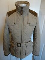Womens Zara Basic Quilted Jacket with Belt - Size Large UK 14