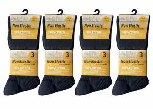 3 Mens Non Elastic Loose Top 100% Cotton Socks Comfort Soft Diabetic Size 6-11