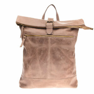 Leather Backpack Large Worn Look Treated Foldover Top Slouchy Made in Italy