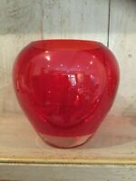 Vintage Art Glass Red Vase  Heavy ~ Ruby Red