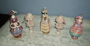 Lot of 5 Victorian Style Christmas Ornaments Resin Dress Forms