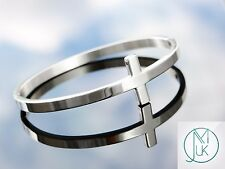 Stainless Steel Silver Tone Sideways Cross Cuff Bangle Bracelet Gift Pouch