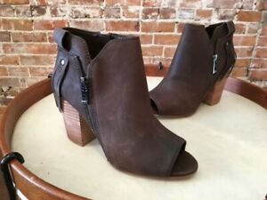 Marc Fisher Brown Leather Novice Peep-toe Ankle Bootie NEW