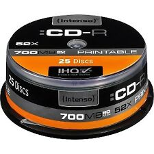 Intenso CD-R 700mb 52x Printable tarrina 25uds (Cod. Inf-ccdcdw0037)