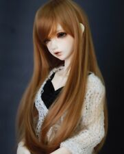 "8-9-10"" 1/3 BJD Brown Long Wig LUTS Doll SD DZ DOD MSD Pullip Dollfie Hair"