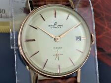 BREITLING 18k GOLD PLATED JUMBO MEN'S DATE WATCH from 1960's