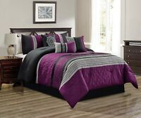 7Pc Full Purple Gray Black White Scroll Embroidered Comforter Set Bedding