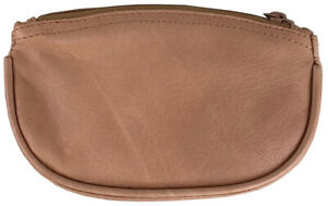 Tan Leather Full Size Tobacco Pouch with Zipper Holds 2 oz Pipe Tobacco - 9301