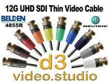 New 12G UHD SDI Digital Video Belden 4855R thin cable with Neutrik UHD BNC Plugs