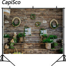 Easter Photography Backdrops Dark Wooden Wall Eggs Bunny Spring Party Background