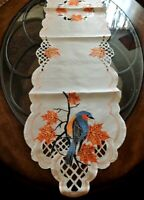 """Thanksgiving Fall Decor Table Runner Maple Leaves Swallow Bird 69""""x13"""" Embroider"""