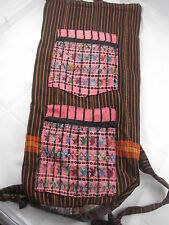 Cloth Hand Embroidered Backpack/Yoga Mat Bag Two Zippered Pockets - ~24x10x6 in