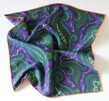 Purple & green Paisley Silk pocket square handkerchief 42cm. Hand rolled.