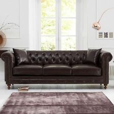 Chesterfield 3 Seater Brown Leather Sofa