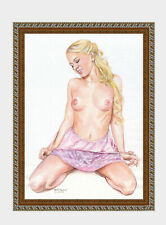 aquarelle watercolor A4 nude female drawing originale nu women woman girl new 14