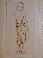 Ca 1900 sepia ink study, partially-nude woman, mystery artist, unsigned, French?