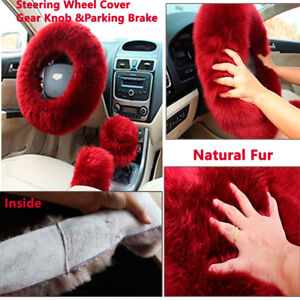 3Pcs Warm Fur Wool Fluffy Thick Car Steering Wheel Cover Red Wine Color Winter