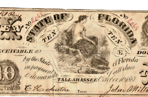 """$10 """"STATE OF FLORIDA"""" 1800'S (TALLAHASSEE) """"STATE OF FLORIDA"""" SUPER CRISPY!!!!!"""