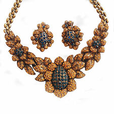 Gourgeous Unsigned Vintage Rhinestone Sunflowers Necklase & Clip Earrings Set