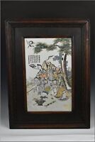 19th Century Chinese Famille Rose Porcelain Plaque w/ Character Scene & Writing