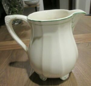 VINTAGE ART DECO GREEN/CREAM FOOTED JUG LGE SIZE ALFRED MEAKIN 1930s UNSUAL FIND