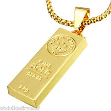 18K Gold Plated Bar Hip Pop Men Chain Necklace Jewelry