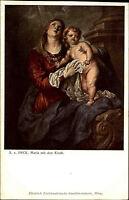 "Künstlerkarte Kunstverlag Wolfrum ~1910 Anton van DYCK ""Maria mit dem Kinde"""