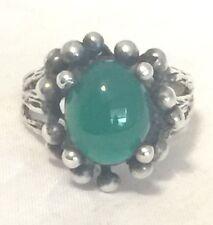 Vintage Sterling Silver Jade Handmade  Ring Size 8.5  6.5g