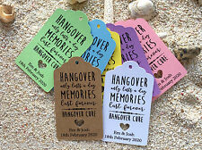 10 Kraft Tags Wedding Favour Personalised Bomboneire Hangover Kit Tags
