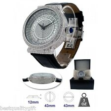 SWISS-BLING MASTER SILVER TONE INFINITO BLACK LEATHER,PAVE CRYSTAL GLITZ WATCH