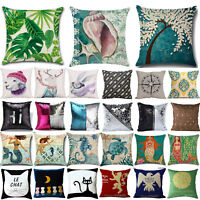 Cotton Linen Waist Throw Pillow Case Square Cushion Cover Home Office Bed Decor