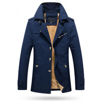 Mens Jacket Warm Winter Trench Coat Business Casual Smart Button Windbreaker