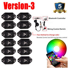12 Pods RGB LED Rock Lights Offroad Music Wireless Bluetooth Control Truck Boat