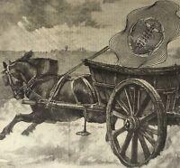 Original signed antique surrealist collage   Victorian Vintage Horse sci-fi 1984