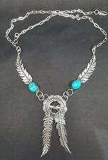 Signed Pat And Fannie Platero Navajo Sterling Silver Turquoise Feather Necklace