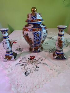 Ming Dynastie handbemalt 1 Deckelvase ,2 Kerzenständer(Meissner Porzellan )