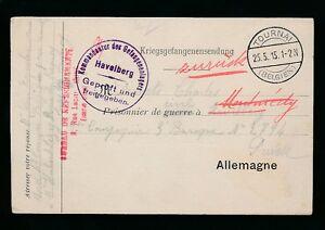 BELGIUM 1915 TOURNAI CIVIL INTERNMENT STATIONERY to GERMANY