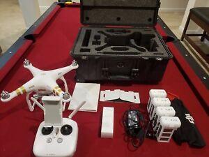DJI Phantom 3 Professional Pro 4K Drone Bundle, body cracked, Pelican Hard Case