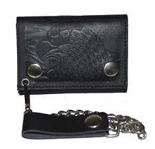 Men's Genuine Leather EAGLE Black Trifold Wallet Chain Biker Trucker Leatherboss