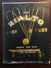 THE RIALTO MARCH TWO STEP BY ABE HOLZMANN SHEET MUSIC JEROME REMICK & CO 1916