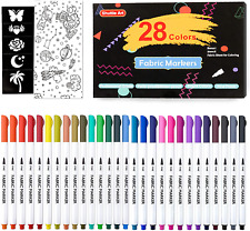 28 Colors Fabric Shuttle Art Permanent Markers T Shirts Clothes Sneakers Jeans