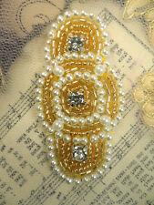 "JB129 Rhinestone Applique Pearl Gold Beaded Victorian 2.25"""