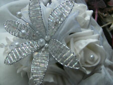 WEDDING FLOWERS MAIDS WAND BOUQUET WHITE ROSES, BEAD FLOWER, CRYSTALS AND PEARLS