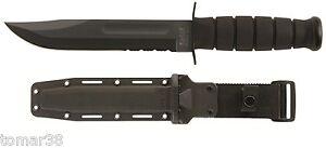 KA-BAR #1214 BLACK COMBO EDGE FIGHTING UTILITY KNIFE w/ HARD SHELL SHEATH